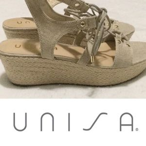 Unisa Gold Shimmer Lace Up Espadrille Wedges